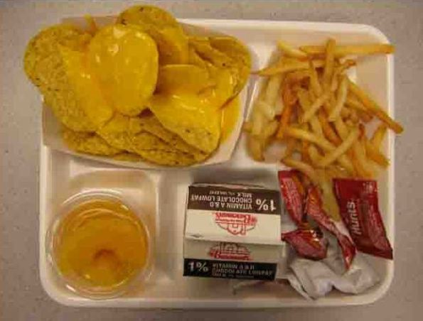 Corn Chips with Cheese Sauce, French Fries, Ketchup, Pears in Syrup and Chocolate Milk