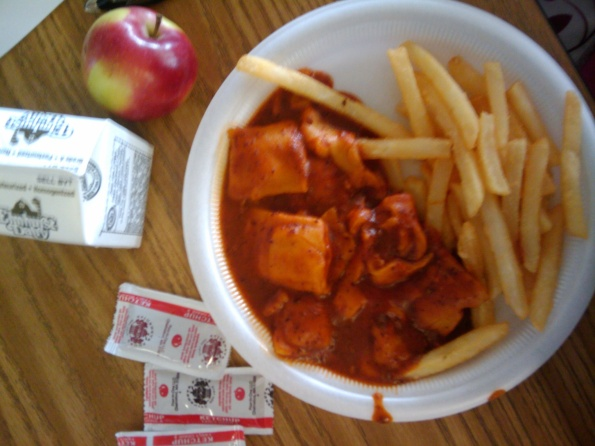 Ravioli, Fries, Ketchup, Milk, Apple